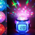 Music LED Star Sky Projection Digital Alarm Alert Clock Calendar Thermometer Kid