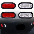 "6"" Oval 24 LED Trailer Tail Lights Reverse Backup Stop Brake (2) White (2) Red"
