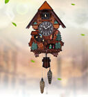 Retro 18 Inch Resin Solid Wood Cuckoo Coo Living Room Rocking Wall Clock .