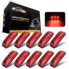 "10x 3.9"" Red Led Side Marker Light Universal 12V Galvanized lining 3LED Trailer"