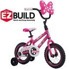 "Disney Minnie 12"" Girls' EZ Build Pink Bike, with wide training wheels, by Huffy"