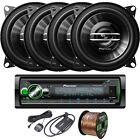 """Pioneer DEHS6100BS Receiver, 4 x 4"""" Speakers, Speaker Wire, SiriusXM Tuner Kit"""