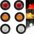 """2X Red 2X Amber 2X White Mini 12V 3/4"""" Round Side LED Marker Light For Car Boat"""