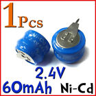 1 Pcs Ni-Cd 60mAh 2.4V Button Rechargable Battery Cells W/ Tab