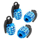 4 x Blue Alloy Grenade Shape Auto Cars Tyre Valve Covers Caps Replacement