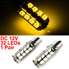 Pair T10 Yellow 2835 SMD 32 LED Car Dashboard Signal Light Lamp 12V Internal
