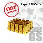 Racing Lug Nuts Type-3(Aluminum) Set of 20 M12X1.50(GOLD) For Scion iM