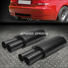 """2X 3""""INLET 3""""BLACK DUAL TIPS T304 STAINLESS STEEL RACING OVAL EXHAUST MUFFLER"""