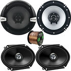 "6x8"" Kenwood 250W 2Way Speakers, 6.5"" 300W 2-Way Speakers, 50FT 16G Speaker Wire"