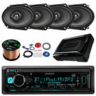 "6x8"" Kenwood Oval Speaker Set, KMMBT318U Bluetooth USB Radio, 150W Subwoofer Set"