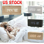 Classical Triangular Digital LED Wood Wooden Desk Alarm Clock Thermometer 12/24