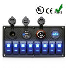 8 Gang 12V/24V LED Rocker Switch Panel 2 USB Charger Marine Boat Car Voltmeter