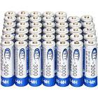 40 pcs AA 3000mAh NiMH rechargeable battery