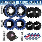 "DWT Blue MX Champion in a Box 10"" Front 8"" Rear Rims Beadlock Rings KFX 450R 400"