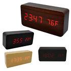 USB Electronic Digital Wooden LED Alarm Clock Sounds Control Temperature Desktop