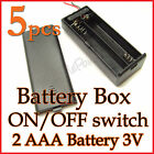 5pcs 2 AAA Battery Holder Box Case 3V ON/OFF Switch