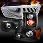 04-08 F150 Black Projector Headlights+LED Tail Lamps+Chrome Vertical Grille