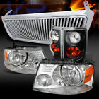 04-08 Ford F150 Chrome Headlights+Vertical Grille+Black Tail Lamps