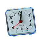 Mini Square Quartz Clock Travel Alarm Clock Bedroom Home Table Clock Blue