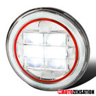 "1PC 7"" Round Chrome Cree LED Projector Headlight+Red Rim Strip Jeep Wrangler"