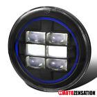 "1PC 7"" Round Black Cree LED Projector Headlight+Blue Rim Strip Jeep Wrangler"