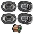 """4x Polk MM Series Ultra Marine 6x9"""" 3 Way Speakers, Enrock 16-G 50 Foot Wire"""