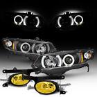 For 06-08 Honda Civic 2Dr Halo Projector Black Headlights +JDM Yellow Fog Lights