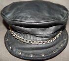Vintage Biker Leather Cap Captains Hat Studded Visor Chain Adjustable Strap