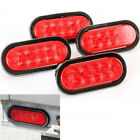 """4x DC12V Car Trailer Truck Lights LED Sealed RED 6"""" Oval Stop Turn Tail Marine"""