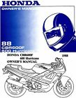 1988 HONDA CBR600F HURRICANE 600 MOTORCYCLE OWNERS MANUAL -HURRICANE-CBR 600 F