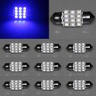 10X Festoon 31mm 12 SMD LED Interior Dome Panel Light Lamp Xenon 1210 Blue 12V
