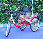 "New 6-Speed 24"" 3-Wheel Adult Tricycle Bicycle Trike Cruise Bike W/ Basket - Red"