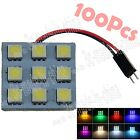 100X 9 SMD 5050 LED Interior Panel Light Bulb With T10 Adapter ZJ002