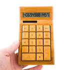 12 Digits Solar Calculator,Full Natural Bamboo Wood button,gift Battery wooden