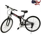 "26"" Folding 6 Speed Mountain Bike Bicycle Shimano School Sport Black"