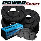 Brake Rotors [Front+Rear Kit]POWERSPORT BLACK *DRILL/SLOT* +CERAMIC PADS BZ11313
