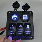 Alum 3 Gang 12V/24V Rocker Switch Panel Blue LED 2 USB for Car Rv Boat Marine