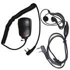 HQRP Kit: 2-Pin Mini Speaker Mic + Earpiece Mic Headset for Kenwood TH TK Series