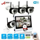 HD 4CH NVR Surveillance 12''LCD 1.0MP Wireless Outdoor Security Camera Kit 1TB