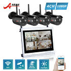 1TB HD 4CH NVR 12''LCD Wireless Outdoor CCTV Security Camera System Surveillance