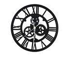 30cm Black Iron Classic Vintage Round Roman Numeral Clock Steampunk Wall Decor