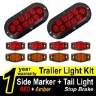 "2X Oval 6"" Red Tail Brake + 8X Red Amber Side Marker Trailer Truck LED Light Kit"
