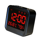 Digital LCD Display Alarm Clock Snooze Time Temperature Indoor Hygrometer