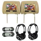 "Rockville RVD721-BG 7"" Beige Dual DVD/USB/HDMI Car Headrest Monitors+Headphones"