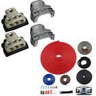 2) ROCKFORD FOSGATE RFD4 0/1/4-Gauge Car Distribution Blocks 1-In 3-Out+Amp Kit