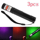 3PCS Red & Green & Purple Laser Pointer Pen Visible Light Beam Star 405nm Newly