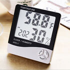 LCD Digital Hygrometer Humidity Thermometer Temperature Meter Gauge With Clock