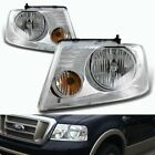 FIT 2004 2005 2006 2007 2008 FORD F150 BLK HOUSING HEADLIGHTS W/CLEAR REFLECTOR