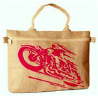 CLEARANCE!! JUTE LAPTOP COMPUTER BAG PINK MOTORCYCLE BIKE 16 x 11 TOTE