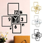 Square Block Number Mirror Effect Wall Clock Art DIY Sticker Home Decor Ardent
